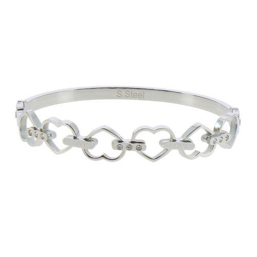 Bracelet Acier inoxydable femme Coeur à strass de Zirconium, BENNIE