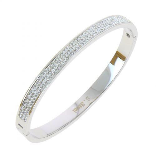 Zirconium crystal Stainless steel bracelet, LYDIA