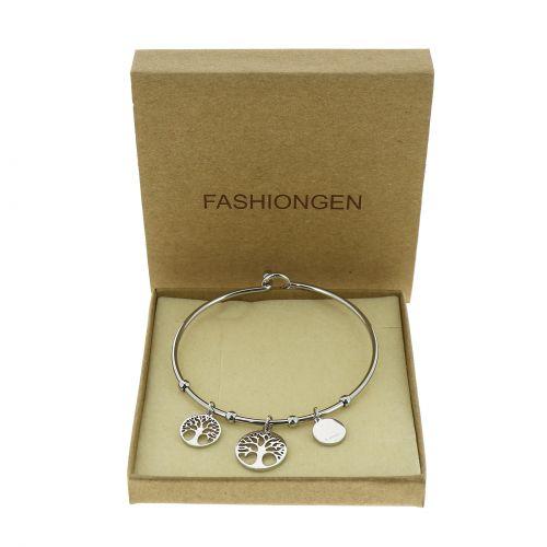 Zirconium crystal Stainless steel bracelet, CHAFIKA
