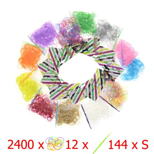 Lot 2400 Elastic Rubber + 12 hooks + 144 S Clips, 100% compatible Rainbow Loom, Loom Cra-Z-kits and other loom