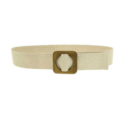 Braided Elastic Waist Belt with Wooden Buckle, Made in France, CHARLOTTE