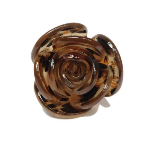 Bague fantaisie acrylique, Fleur, AOS-3