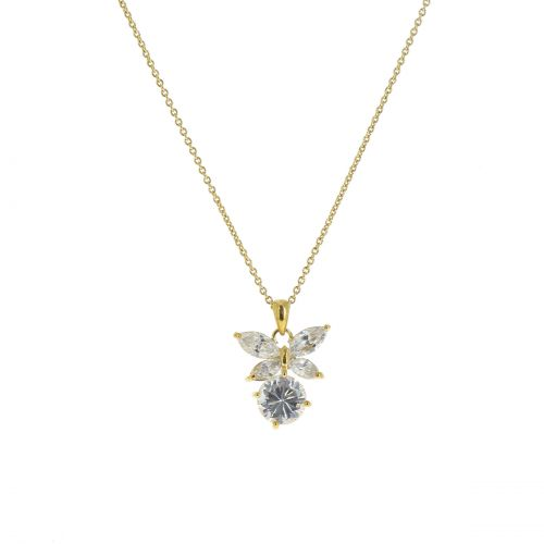 Collier papillon strass, 7706 Or