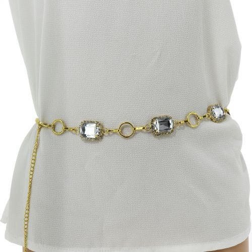 Woman's Lady Fashion Metal Chain Style Belt with Love heart Strass, NITIEL