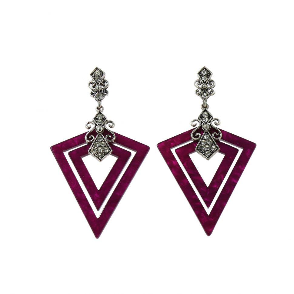 Boucles d'oreilles acrylique Triangle et Strass, Violet