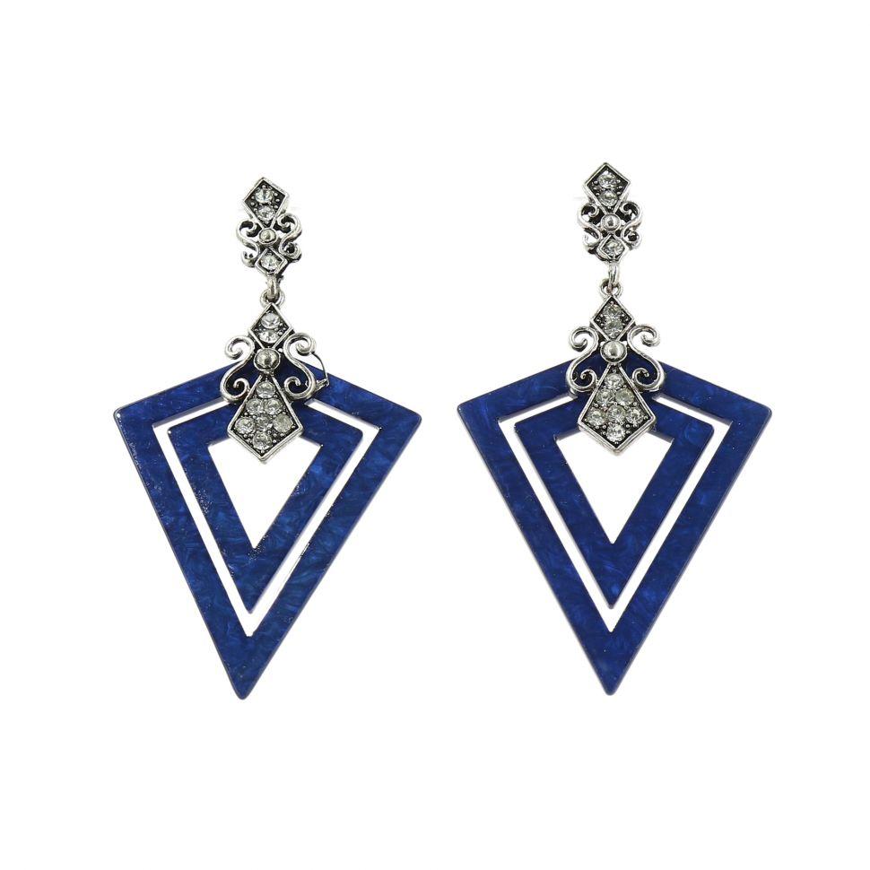 Boucles d'oreilles acrylique Triangle et Strass, BOS-11 BLEU CYAN