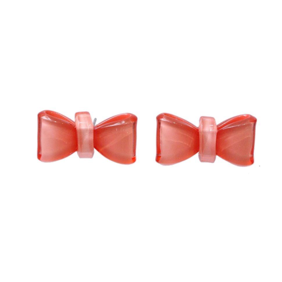 Boucles d'oreilles AOS-5, Noeud papillon, acrylique Corail