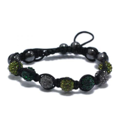 Bracelet shamballa 7 disco ball céramique, bicolore Vert-gris - 1745-5762