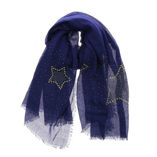 Echarpe femme douce imitation coton, strass et étoile, NUARA