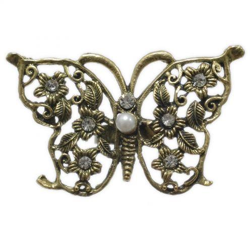 anello di modo, strass farfalla XL Bronzo