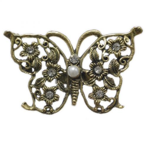 RIng Fantasy Butterfly Rhinestone XL Bronze