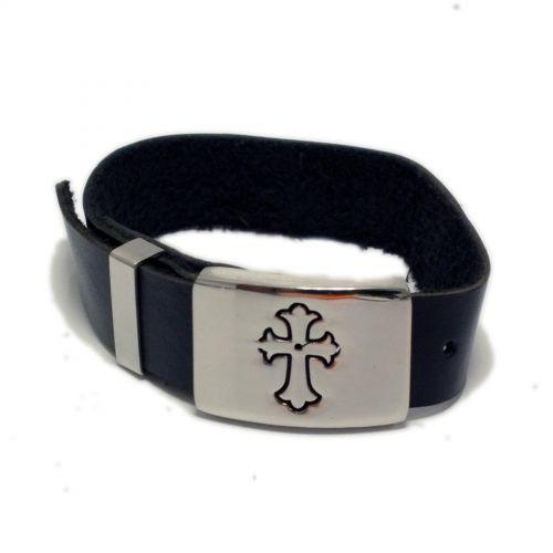Bracelet cuir et acier inoxydable Templier Noir - 2014-5977