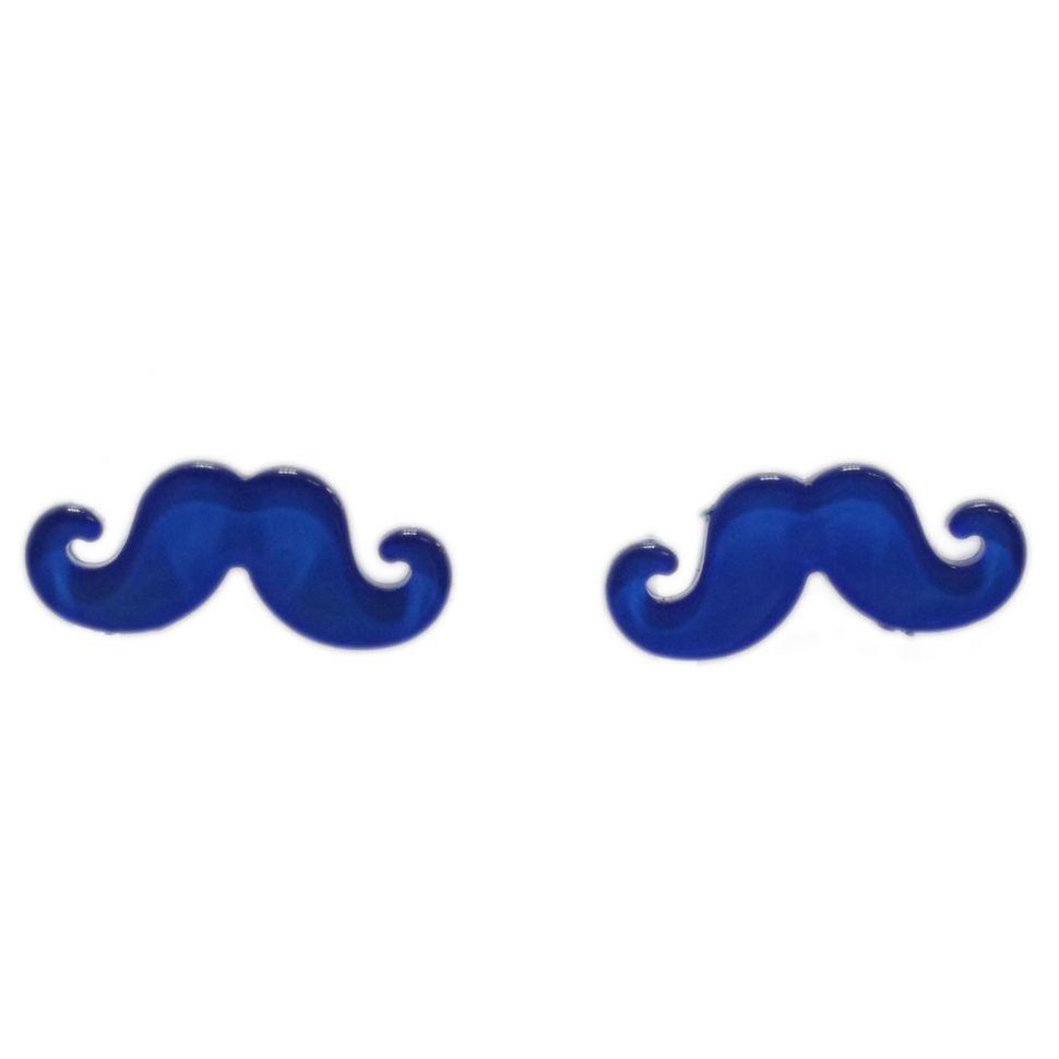 Boucles d'oreilles moustache en acrylique, 2094 Bleu cyan - 2094-6339