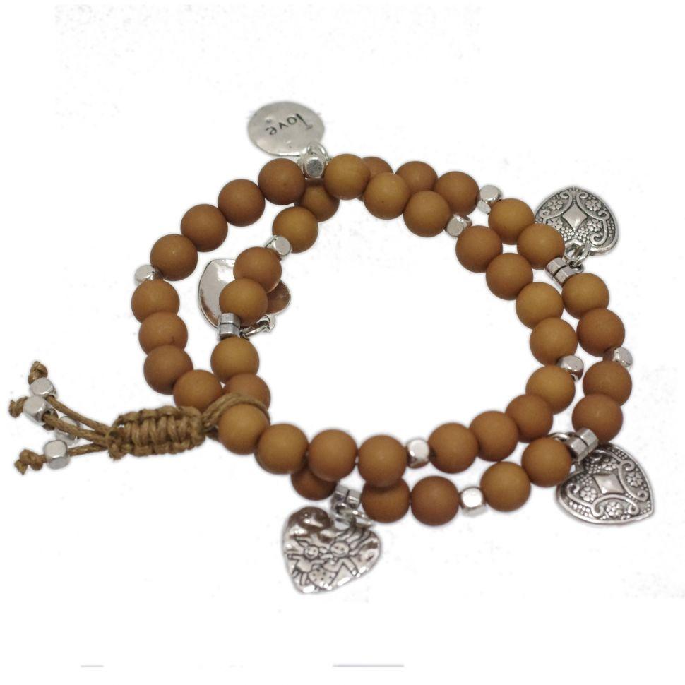 bracelet coeur et perles en bois Taupe - 1832-6921