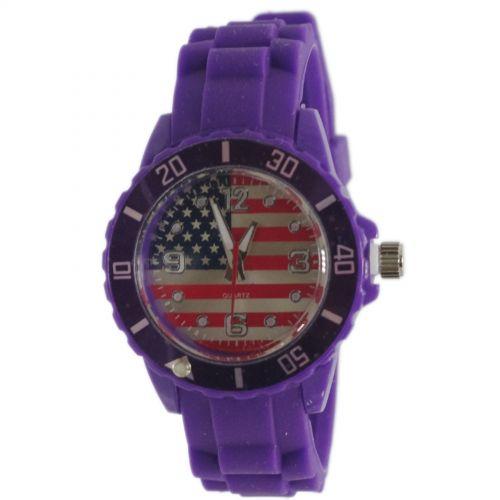 Montre cadran à drapeau américain, silicone, 2028 Violet - 2387-7620