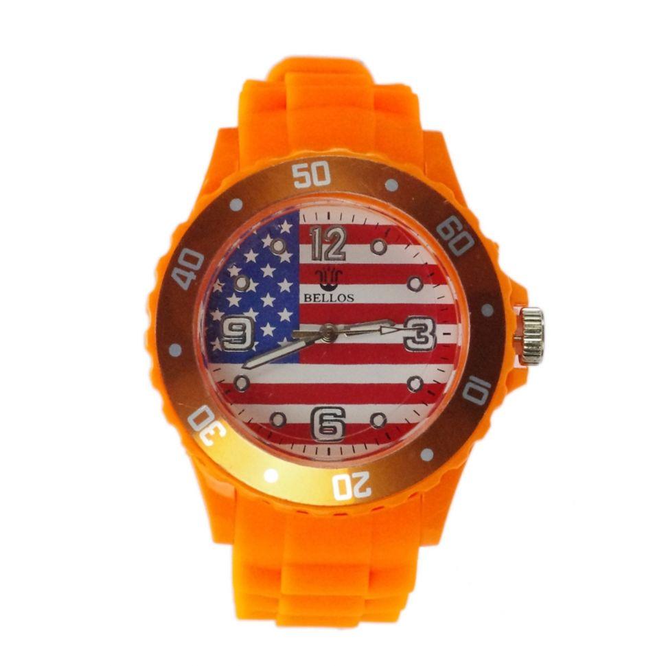 Montre cadran à drapeau américain, silicone orange neon