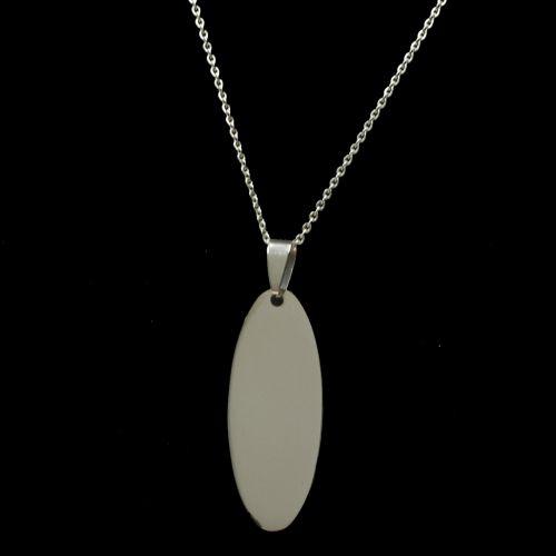 Collier acier inoxydable, pendentif ovale