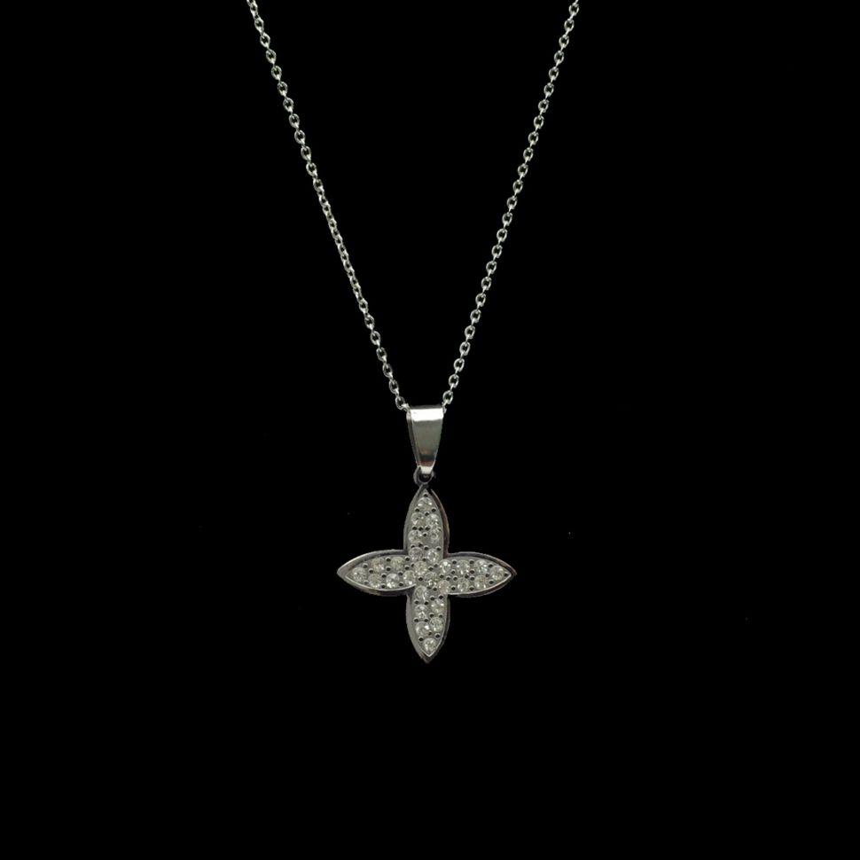 Collier acier inoxydable, pendentif étoile strass
