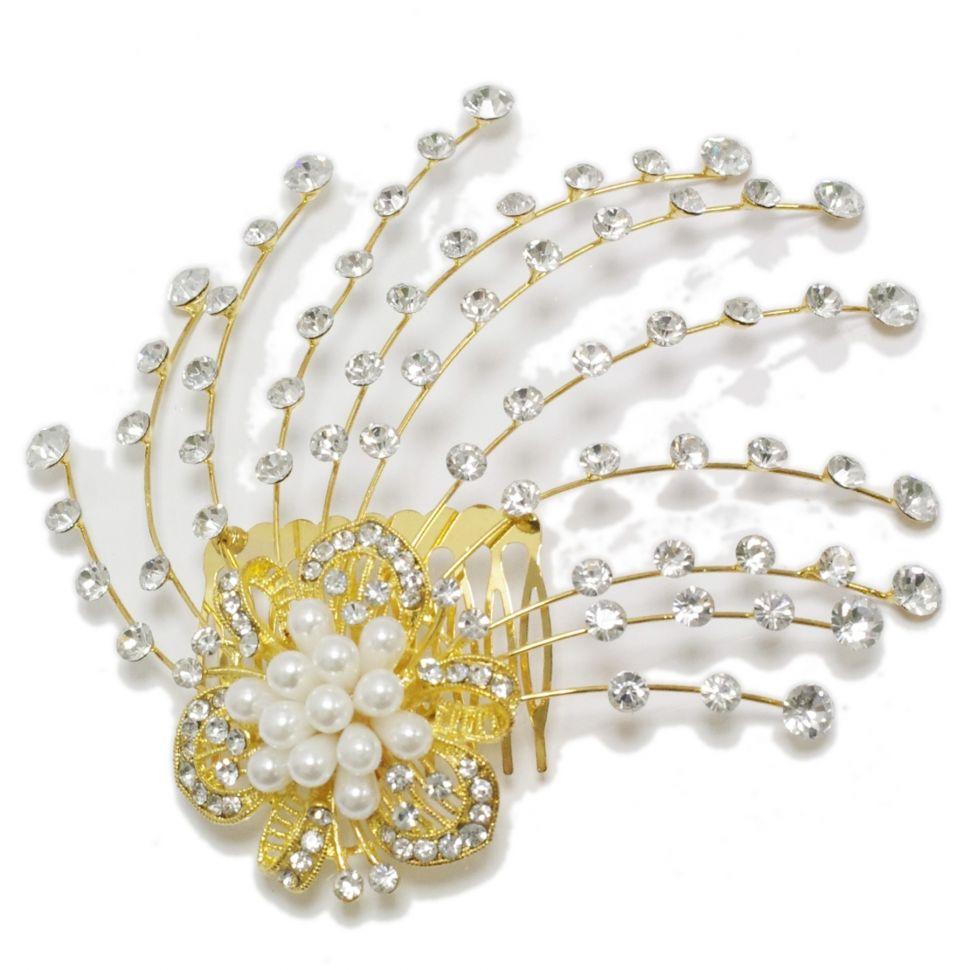 Bijoux de cheveux, fleurs à perles, strass, 2033 OR Doré - 2889-9432