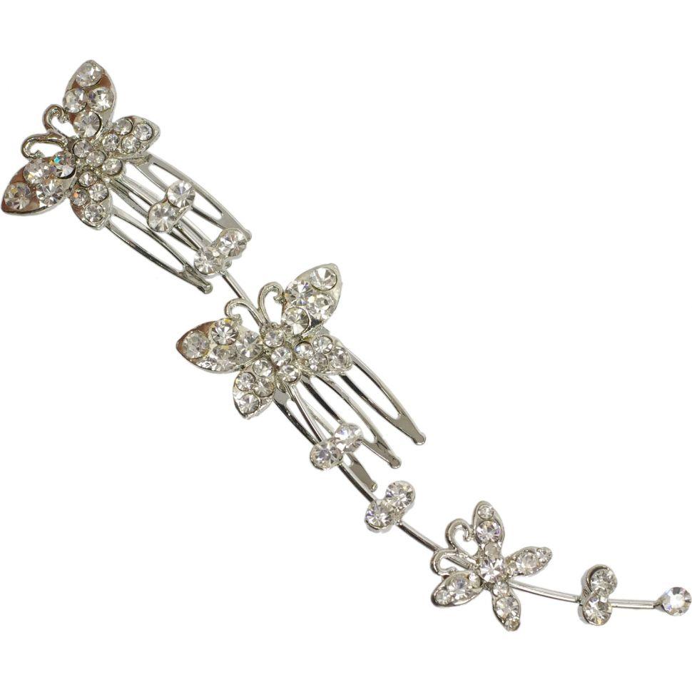 Bijoux de cheveux, papillons strass, 2969 argent