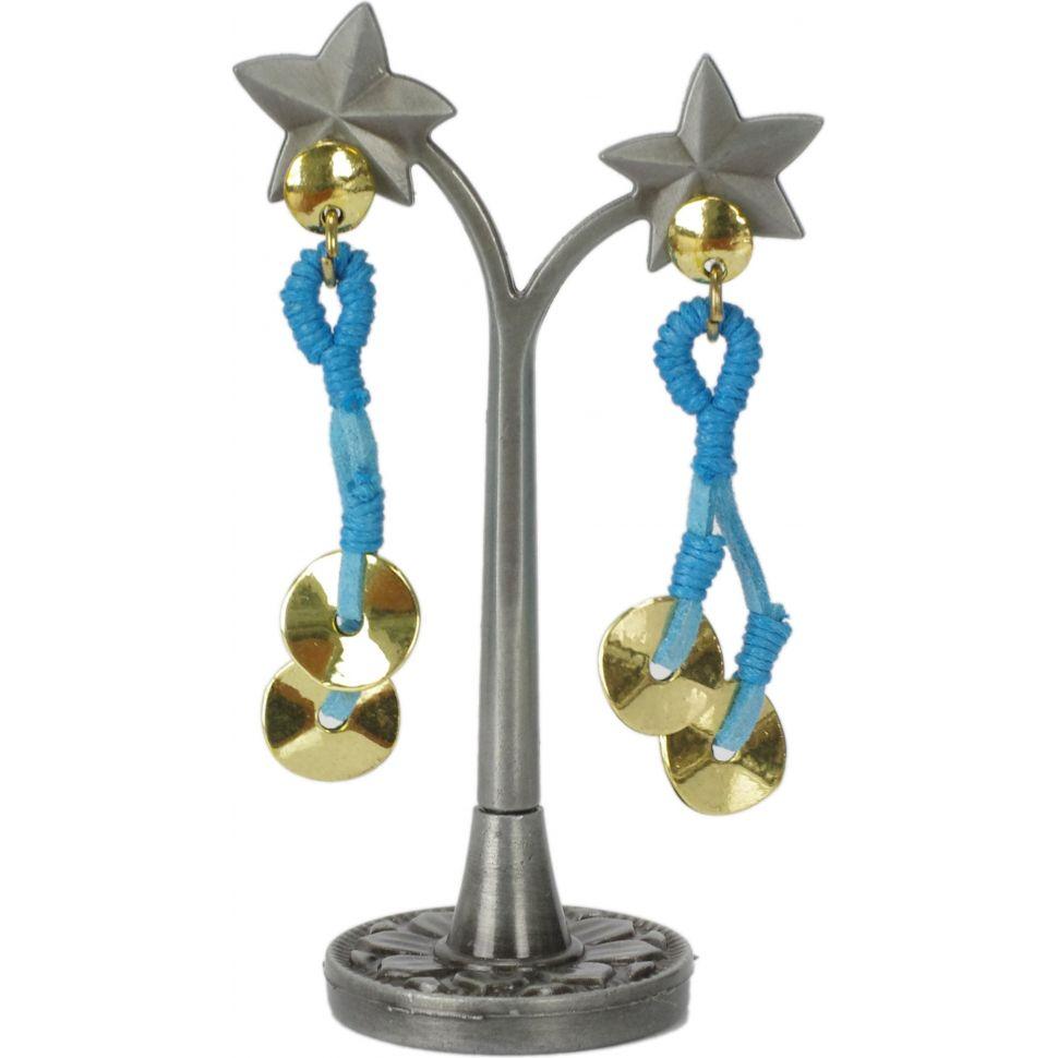 Boucles d'oreilles, pièce et cuir Bleu - 3001-9918